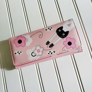 New pink leather kitten checkbook wallet purse